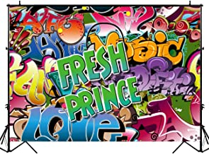 HUAYI The Fresh Prince Photography Backdrop Birthday 80s 90s Party Decoration Graffiti Wall Photo Background Music Hip Hop Birthday Banner 7x5ft Sm-105