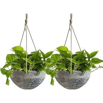 LA JOLIE MUSE Hanging Planter Flower Plant Pots - 10 Inch Indoor Outdoor Balcony Patio Hanging Basket Set of 2, Marble Pattern