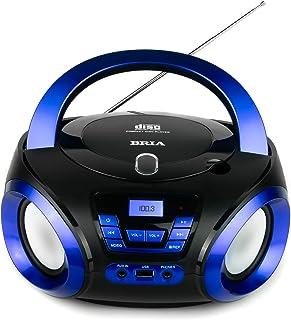 BRIA PB271 Portable CD/MP3 Home Audio FM Radio Enhanced Bass Boombox with Bluetooth, Aux Input, USB Input, and Headphone J...
