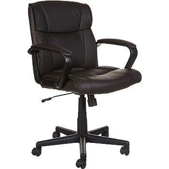 AmazonBasics Leather-Padded, Ergonomic, Adjustable, Swivel Office Desk Chair with Armrest, Brown