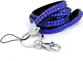 CKB Ltd 1x Bling Carte ID Support De Badge BLUE Acrylic Faux Diamant Rhinestone Style Cordon Lanyard courroie de cou Strap...