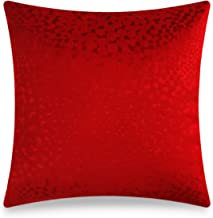 Embossed Fabric Cushion Cover, Plain Textured Decorative Pillowcase, Velvet Home Decor Throw Pillow, Red, 18x18 Inch, 45x4...