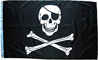 Jolly Roger Pirate Flag 3x5 Pirate Flag Skull and Crossbones Flag Double Stitched with Brass Grommets , Jolly Roger Flag 3x5 Foot Pirate Outdoor Indoor Flag , Pirate Flags 3x5 Outdoor Pirate Banner
