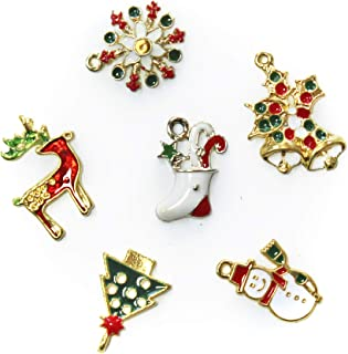 ALL in ONE Mixed Gold Plated Christmas Charms Pendants Findings for DIY Jewelry Making (14pcs, 7styles)