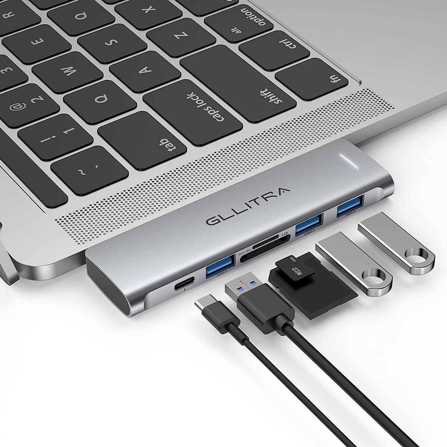 USB C Hub, GLLITRA 6 in 2 USB C Adapter for MacBook Pro with 3 USB 3.0 Ports, SD/TF Card Reader, 100W Thunderbolt 3 PD Port, Support for MacBook Pro 13