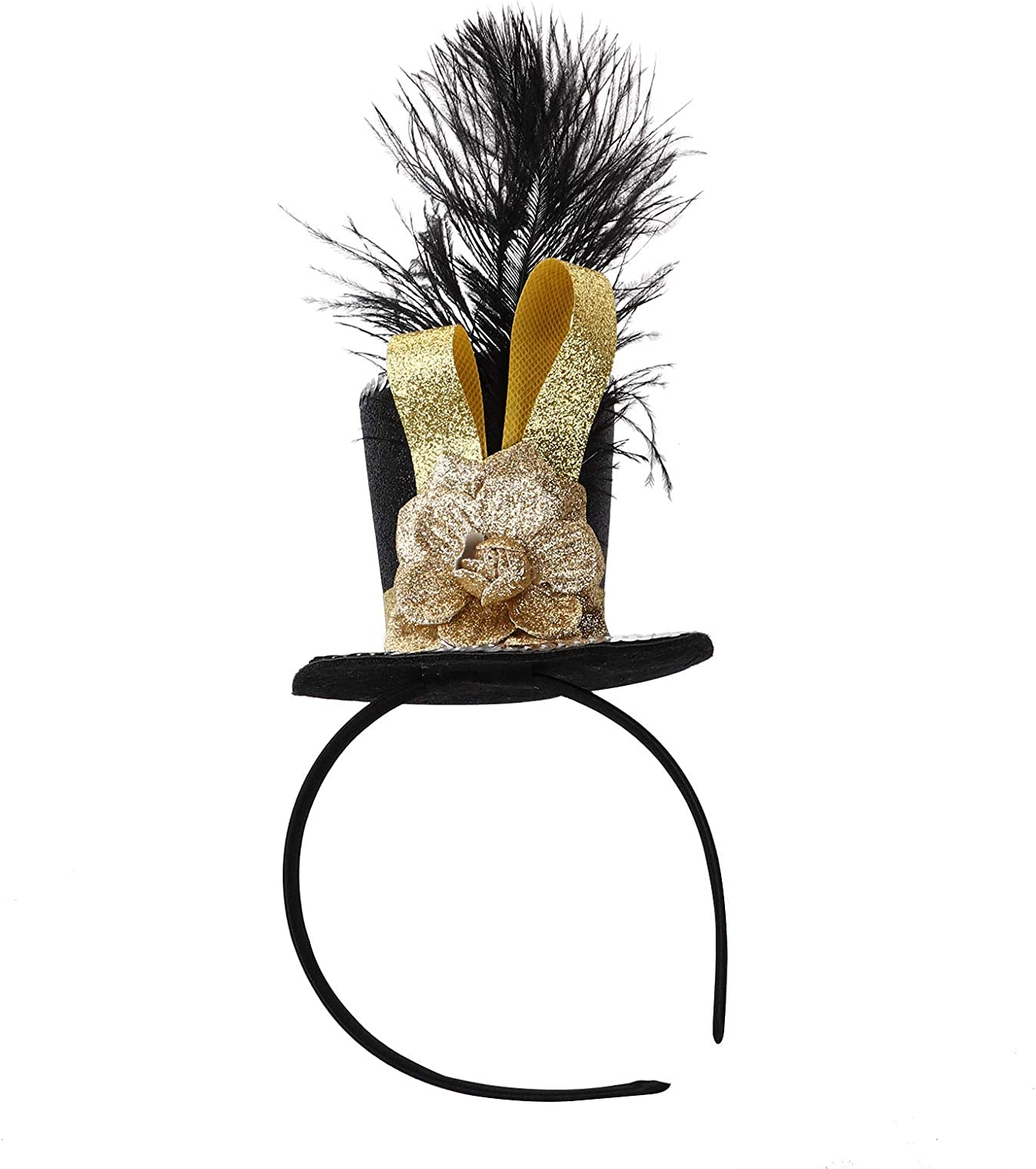 Alvivi 1 Pc Mini Top Hat Headband with Feathers & Flower Sparkle Fascinator for Halloween Party Festival Cosplay Photo Prop