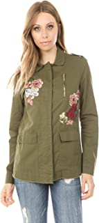 Ashley by 26 International - Women's Military Jacket with Floral Embroidery