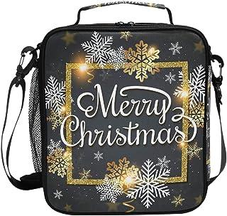 Sac à déjeuner isotherme de Noël avec flocons de neige dorés et blancs sur fond noir - Grande capacité - Pour voyage, piqu...