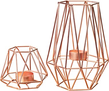 Fanxina Set of 2 Metal Hexagon Shaped Geometric Tea Lights, Candle Holders Metal Wire Iron Hexagon Shaped for Vintage Wedding
