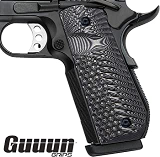 Guuun 1911 Grips G10, Full Size Government Grips, Bobtail Round Butt Cut, Eagle Wing Golf Texture