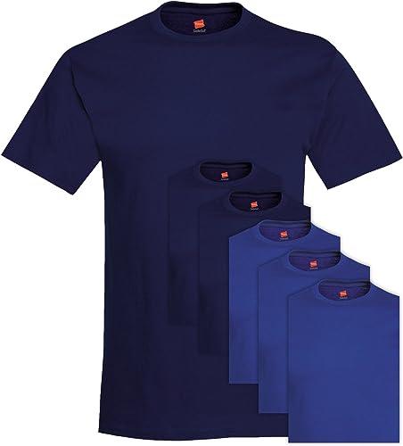 Hanes 5280 Comfortsoft Hommes's 6 T-Shirt Ras du Cou pour Hommes petit 3 Deep Navy + 3 Deep Royal