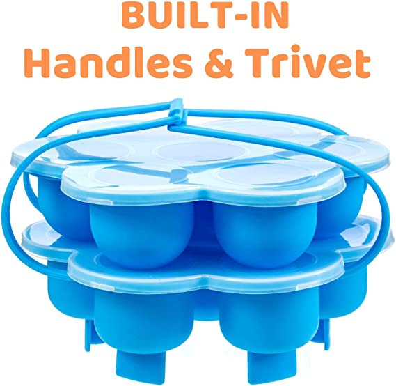 Silicone Egg Bites Molds With Built-In Handles and Trivet