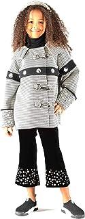 Heebriz WPA002 - Pantalón de pata de terciopelo negro con bordado en el fondo de la pierna - Color negro - Talla