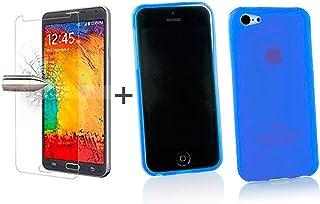 099629f0f81 TBOC® Pack: Funda de Gel TPU Azul + Protector Pantalla Vidrio Templado para  Apple