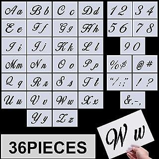 Plantillas de Letras, Plantillas de Alfabeto Utilizables de Plástico Sténcil de Manualidades con Números y Signos, Conjunto de 36 Piezas