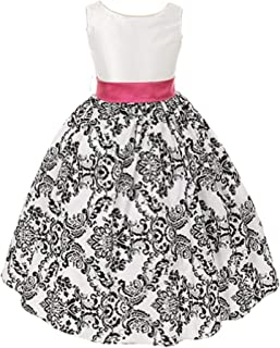 White with Black Velvet Special Occasion Dress with Sash - Infant Toddler Girls