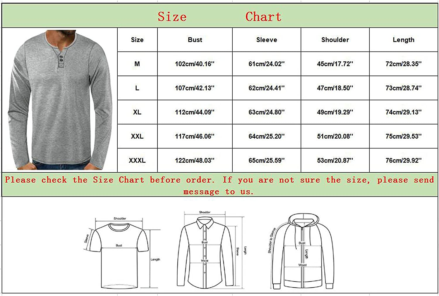 Maryia Mens Henley T Shirts Casual Classic Regular Fit Long-Sleeve Solid Beach Lightweight Soft Beefy Pullover Tops