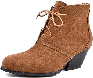 HJGHY Botas para Mujer Botines para la Nieve Invierno Ante/Cordones Algodón Botines Forrados de Piel Cálida Zapatos Antide...