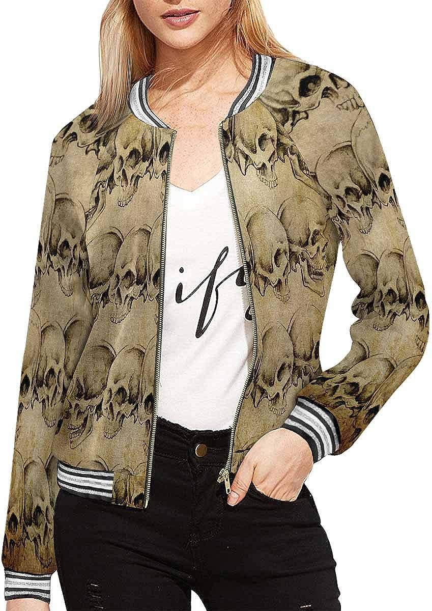 InterestPrint Women's Magic Green Long Sleeves Zippered Pockets Jacket