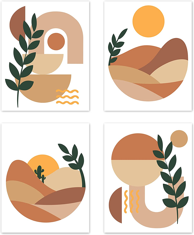 Mid Century Neutral Orange Tan Gold Modern Boho Bohemian Minimalist Abstract Wall Art Posters Home Room Decor Botanical Desert Sun Geometric Pictures Prints Decorations Terracotta Brown Beige Retro