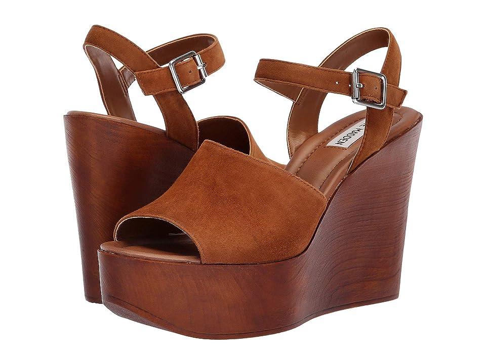 Steve Madden Bellini Wedge Sandal (Cognac Suede) Women