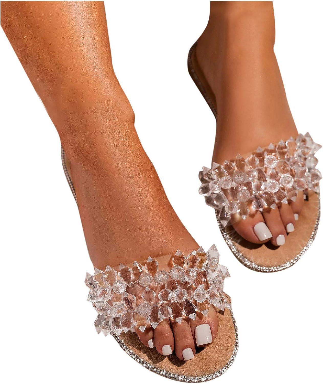 Sandals for Women,Comfy Shining Diamond Roman Shoes Casual Summer Beach Travel Indoor Outdoor Flip Flops Slipper