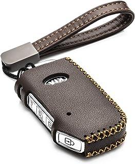 Vitodeco Genuine Leather Smart Key Fob Case Compatible for 2019-2021 Kia Soul, Seltos, Telluride, Forte