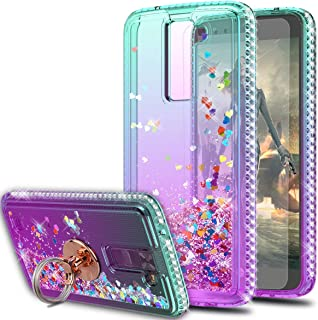 LG Tribute 5 Case,LG Escape 3/ LG Treasure/LG Phoenix 2 Case with HD Screen Protector with Ring Holder,KaiMai Glitter Moving Quicksand Clear Cute Shiny Phone Case for LG K7-Aqua/Purple Ring