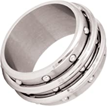 Corsair Three Row Industrial Steel Studs Mens Spinner Ring by Bico-Size 9