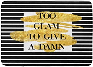 Doormats Bath Rugs Outdoor/Indoor Door Mat Watercolor Chanel Funny Quote on Striped and Gold Brush Stroke Too Glam to Give...