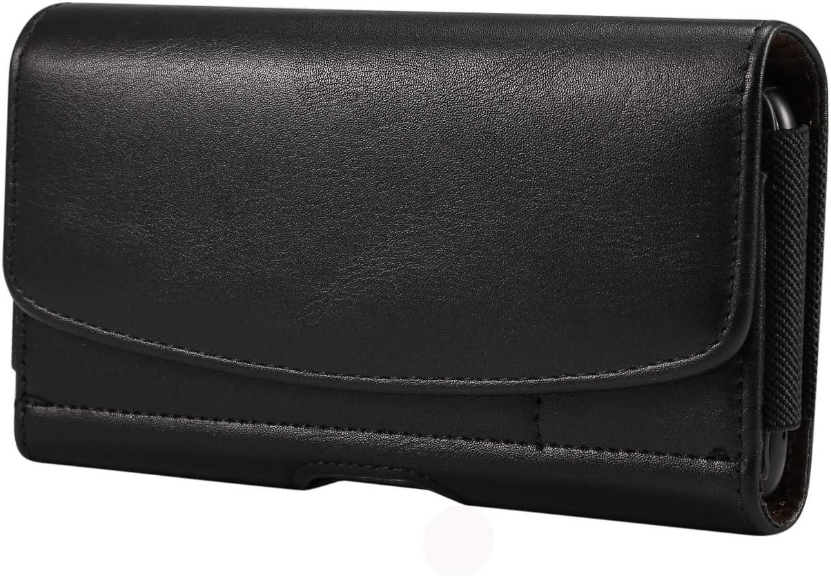 Horizontal Premium PU Leather Cell Phone Pouch Belt Clip Belt Loop Holster Waist Wallet Case ID Card Slots for LG V50 ThinQ/LG V40 ThinQ/LG Stylo 4 / LG V20 / LG Stylo 3 / Stylo 2 / Stylus 3