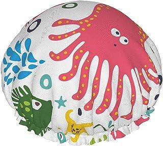 Dwuwarstwowa czapka prysznicowa, okręgi morskie kolory bezszwowy wzór, wodoodporne elastyczne czepki kąpielowe, z elastycz...