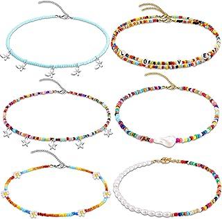 6 Pieces Bohemian Bead Pearl Choker Necklace Handmade Colorful Seed Beaded Choker Boho Seed Bead Choker Rainbow Flower Nec...