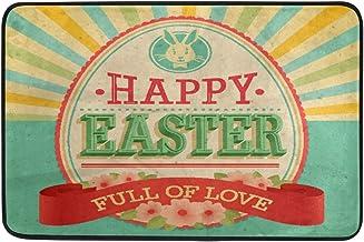 JSTEL Nonslip Door Mat Home Decor, Vintage Happy Easter Flowers Durable Indoor Outdoor Entrance Doormat 23.6 X 15.7 Inches