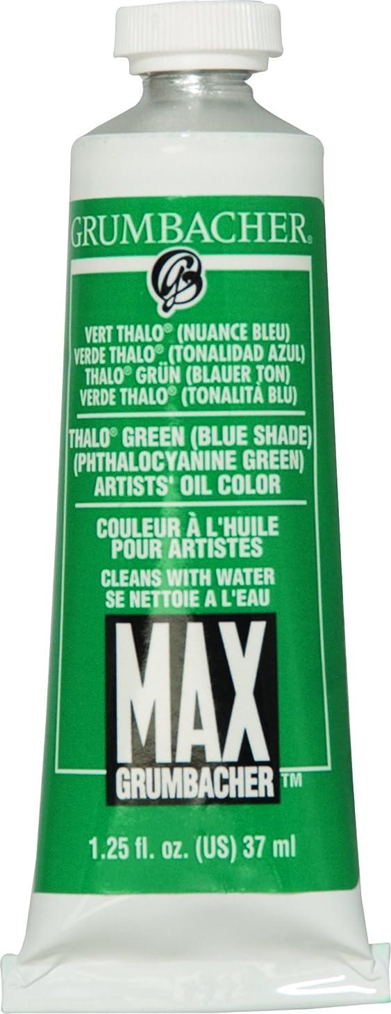 Grumbacher Max Water Miscible Oil Paint, 37ml/1.25 oz, Thalo Green (Blue Shade)
