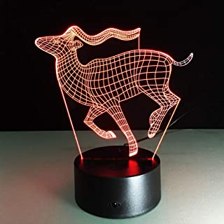 Luces nocturnas 3D wangZJPez feoluchadorantílopelindo gatolobo  7 colores cambiantesluz nocturna LEDacrílico plano...