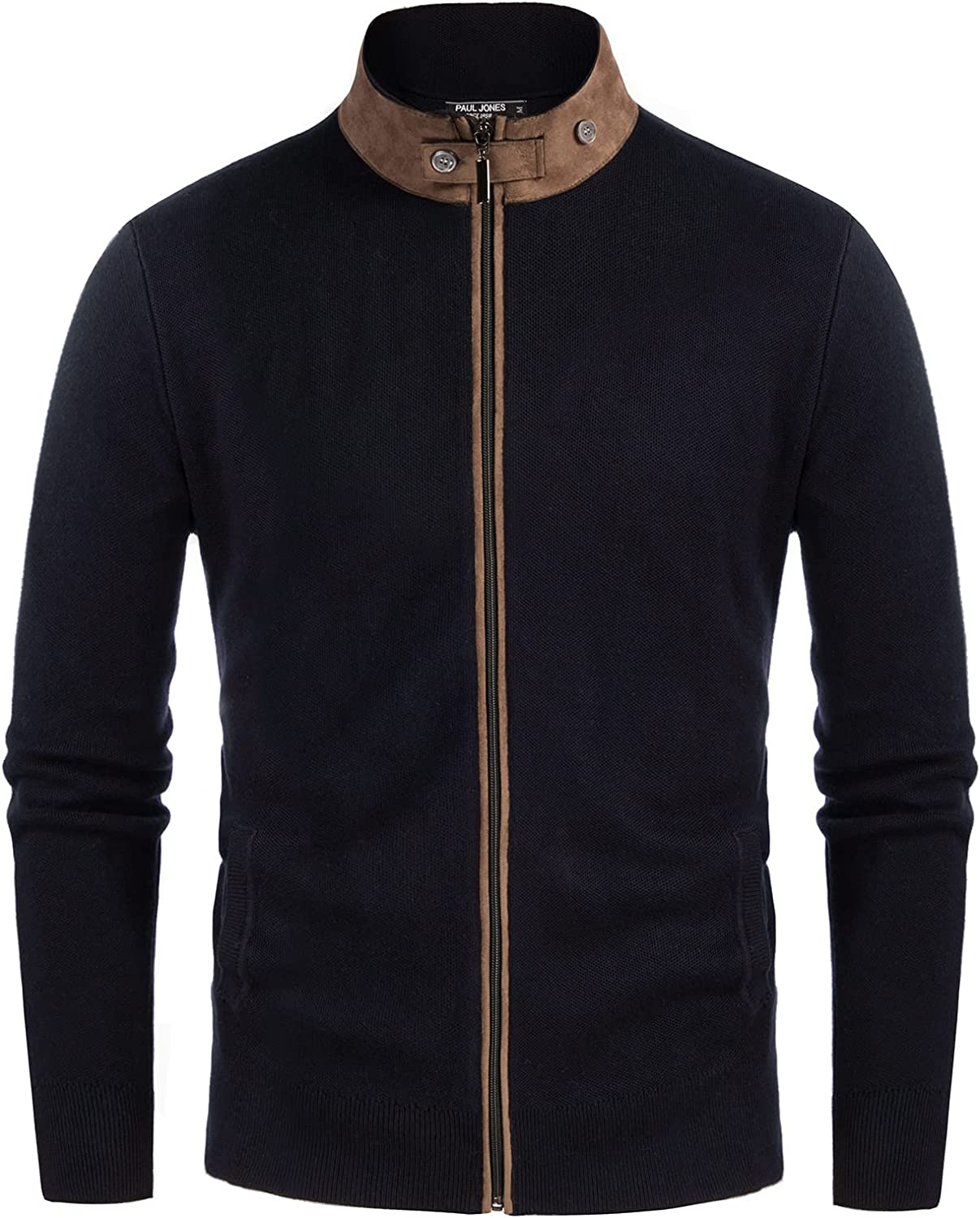 Men's supreme Suede Patchwork Stand Collar Detroit Mall Swe Cardigan Zip Knitted Full