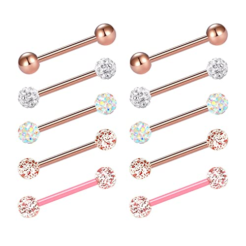 Jforyou 14g Tongue Ringsrings Stainless Steel Barbell Bio Flex Comfortable Barbell Ring Body Piercing