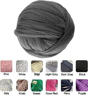 clootess Chunky Merino Wool Yarn Bulky Big Roving for DIY Hand Made Knit Blanket Throw - Dark Gray 8 lbs