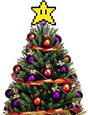 kaikki Topper d'arbre De Noël, 3D Pixel Star Ornement d'arbre De Noël Étoile Forme Décorative Topper Décor