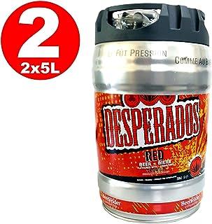 2 x Desperados de cerveza roja con tequila, guaraná, cachaca, barril de fiesta, barril de 5 litros, incl. Tap 5.9% vol.
