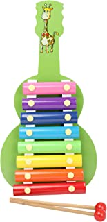 DAISYLIFE™ Natural Wooden Toddler Xylophone Musical Instrument for Kids with Multi-Colored Metal Bars with Two Set of Wooden Mallets (Green)