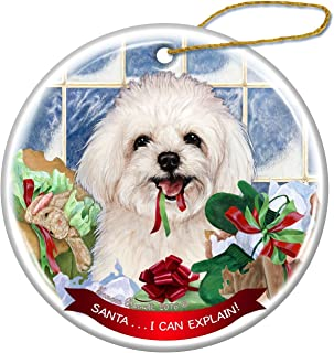 Maltipoo Dog Porcelain Hanging Ornament Pet Gift 'Santa.. I Can Explain!' for Christmas Tree and Year Round