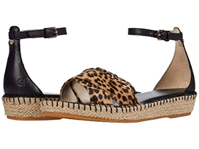 Cole Haan Cloudfeel Espadrille Ankle Strap Sandal (Mini Cheetah Print Haircalf/Black Leather/Tonal Hand Stitch) Women