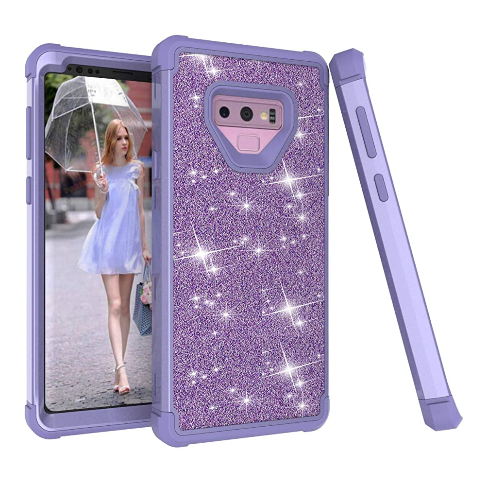 Galaxy Note 9 Case, Dooge Glitter Sparkle Bling Girls Women Case Heavy Duty Armor Defender Shockproof Protective PC + TPU Bumper Shell for Samsung Galaxy Note 9 (Purple)