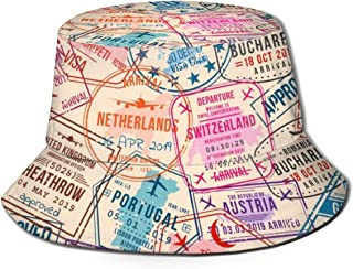 Abstractpillow Fisher hat Women and Men,Passport Visa Stamps, Seamless Pattern. International and Immigration Office Bucket Hat one Szie Boonie Cap
