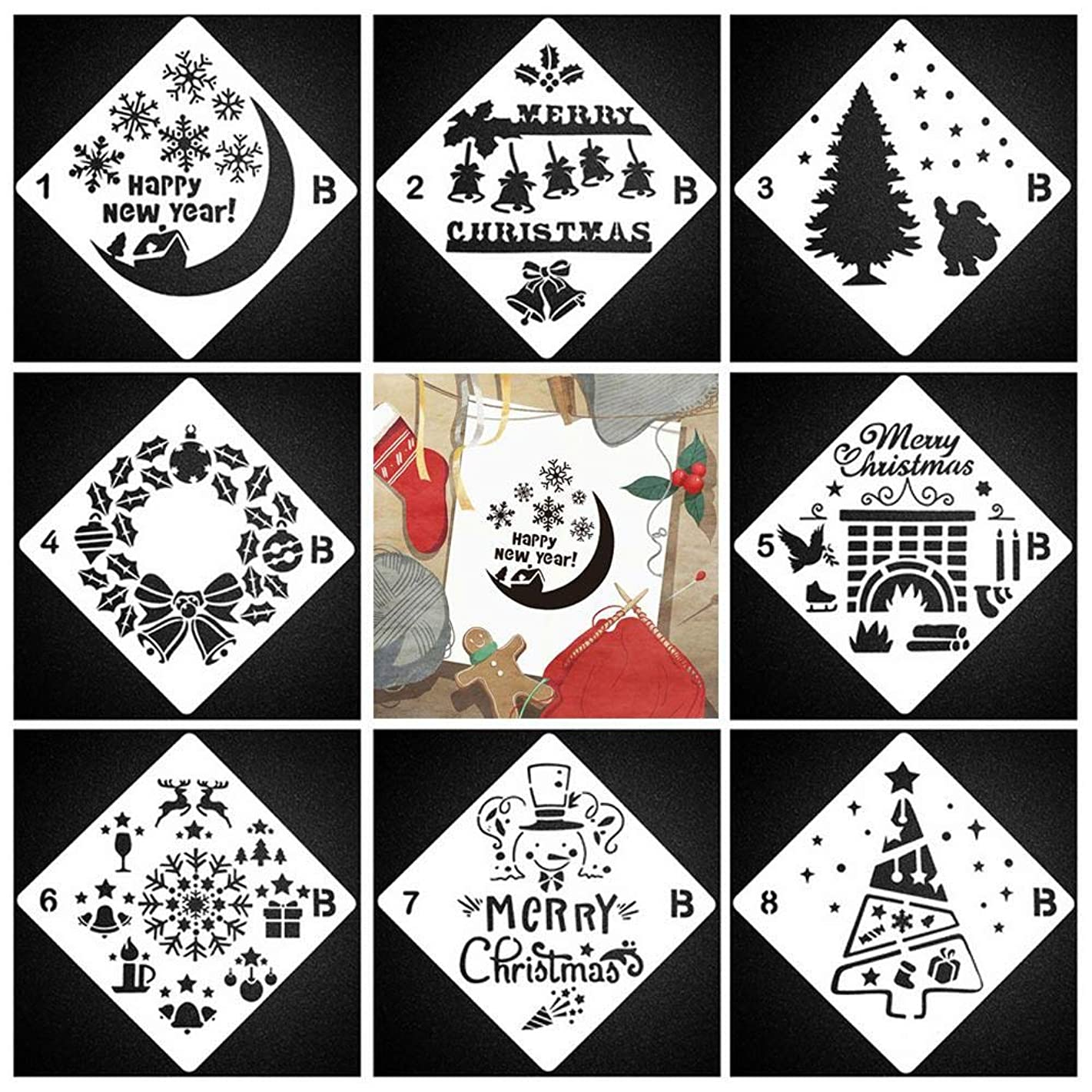 KOBWA Christmas Drawing Painting Stencils Scale Template Sets, 8 Pcs Different Christmas Style Stencils for Painting on Wood, Craft Cards Making, Human Body Painting, Home Decor