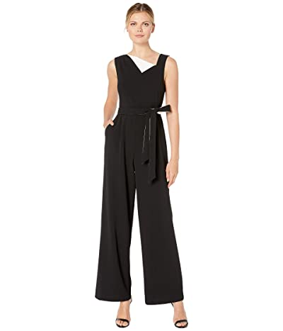 Calvin Klein Fold-Over Neck with Contrast Lining Jumpsuit (Black/Cream) Women