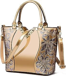 Women's Handle Bags, Leather Purse Crossbody Shoulder Bag, Fashion Embossed Handbag Satchel Shoulder Bag Tote,Gold