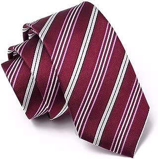 JJSFJH Corbata de Rayas Blancas de Vino Rojo de 7 cm Diseño ...